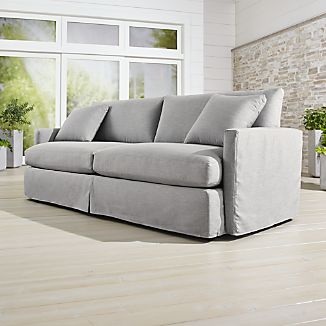 petite belgian track arm slipcovered sofa bed lounge chaise slipcovers crate and barrel ii outdoor 93