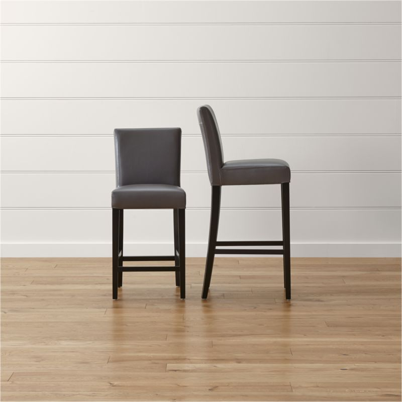 bar stool chair grey ikea lucite stools and counter wood metal more crate barrel lowe smoke leather