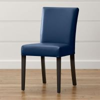 Lowe Navy Leather Dining Chair | Crate and Barrel