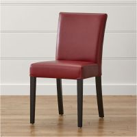 Lowe Red Leather Dining Chair + Reviews | Crate and Barrel
