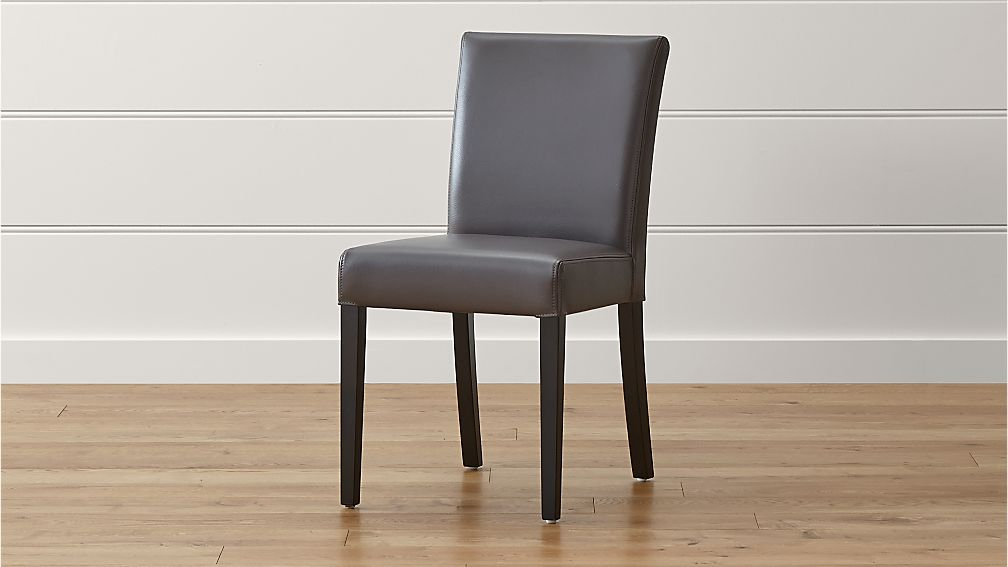 gray dining chair best office with neck support lowe smoke leather crate and barrel