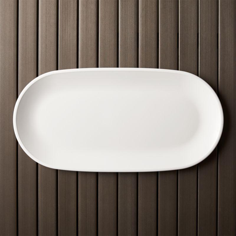 Lunea Melamine White 19x95 Long Serving Platter  Reviews  Crate and Barrel