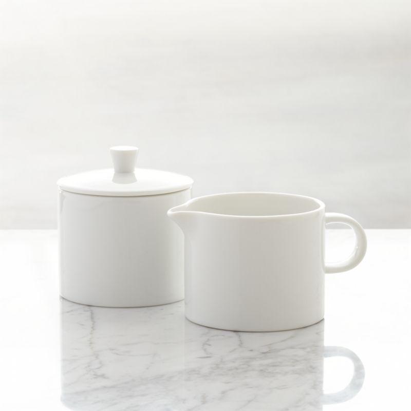 White Sugar Bowl and Creamer Set  Crate and Barrel