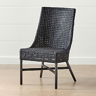 gray rattan dining chairs office yorkshire crate and barrel maluku black side chair