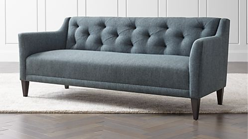 french linen tufted sofa roundabout sofas couches and loveseats crate barrel margot ii 80 grande