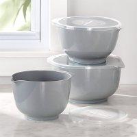 Rosti Grey Melamine Mixing Bowls with Lids, Set of 3 ...