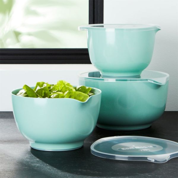 Rosti Retro Green Melamine Mixing Bowls With Lids Set Crate And Barrel