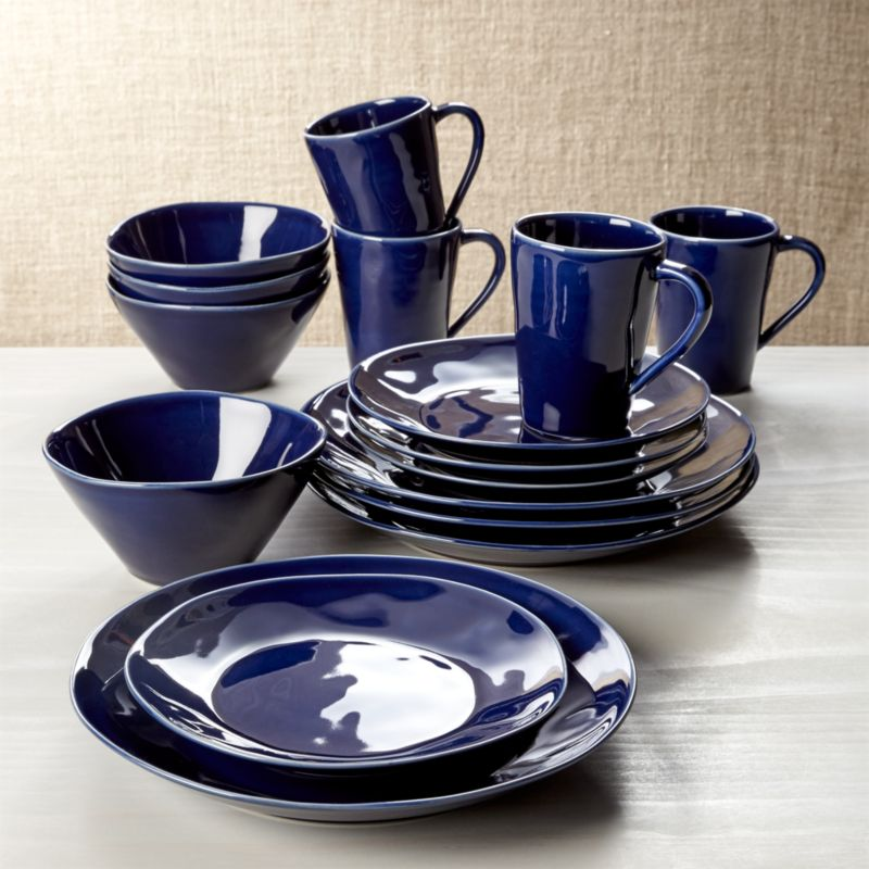 Marin Dark Blue 16Piece Place Setting  Reviews  Crate