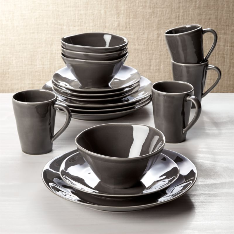 Marin Dark Grey 16Piece Place Setting  Reviews  Crate