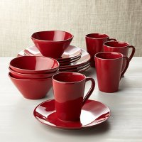 Marin Red 16-Piece Dinnerware Set | Crate and Barrel