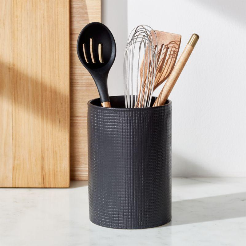 kitchen tool holder antique hutch matte black utensil reviews crate and barrel matteblackutensilholderrof18