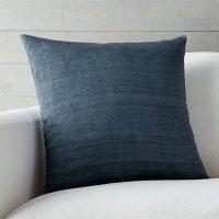 Michaela Blue Silk Throw Pillow | Crate and Barrel
