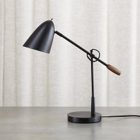 Morgan Black Metal Desk Lamp with USB Port | Crate and Barrel