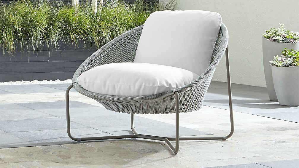 outdoor chair lounge ottoman set morocco light grey oval with cushion reviews crate and barrel