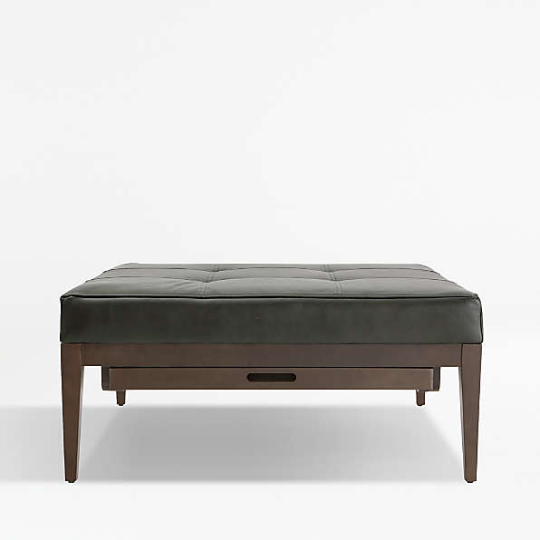 leather ottomans crate and barrel