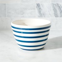 Individual Navy and White Striped Mixing Bowl