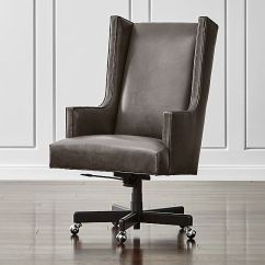 Office Chair Club Reviews Cherry Wood Dining Chairs Neo Leather Wingback | Crate And Barrel