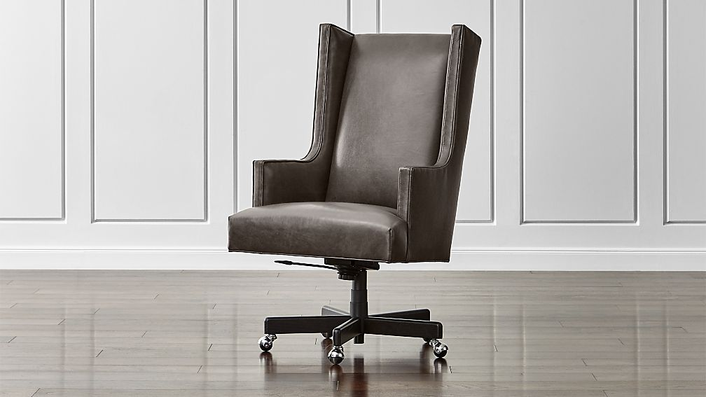 leather swivel barrel chair snap on neo wingback office manhattan: pewter | crate and