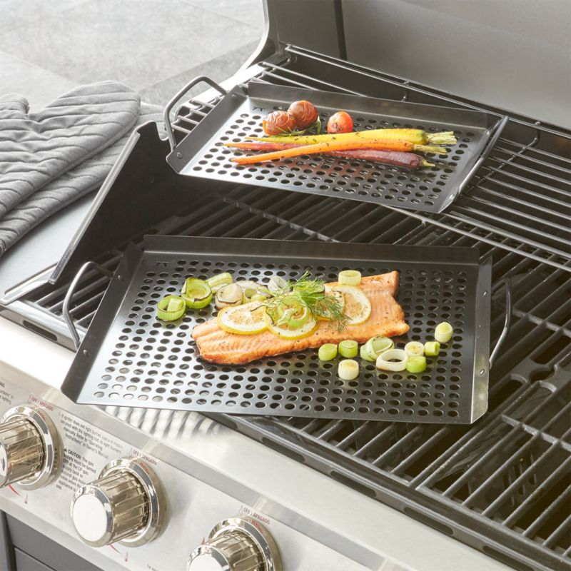 Set of Two Nonstick Grill Trays  Reviews  Crate and Barrel