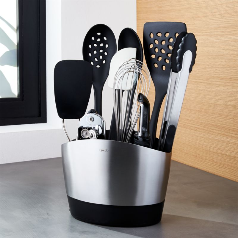 kitchen utensils holder sliding cabinet doors oxo utensil set: 10 piece with tools + reviews ...