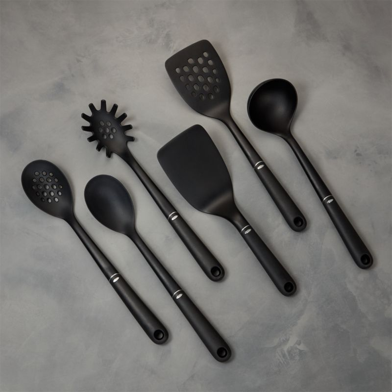 oxo kitchen utensils built in wine rack cabinets nylon 6 piece set reviews crate and barrel