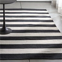 Olin Black Striped Cotton Dhurrie Rug | Crate and Barrel
