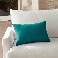 Sunbrella  Bold Turquoise Outdoor Lumbar Pillow | Crate ...