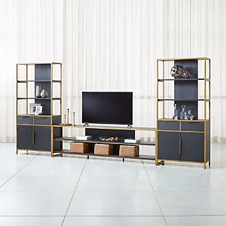 living room media furniture formal coffee table decor tv stands consoles cabinets crate and barrel oxford 100 black wood console with 2 wide storage bookcases