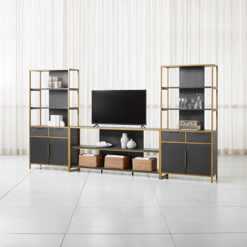 Oxford 80quot Black Wood Media Console With 2 Wide Storage