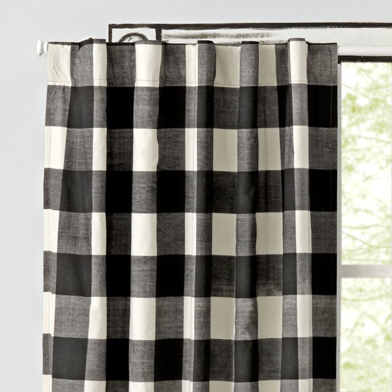 Black Buffalo Check Curtain  Crate and Barrel