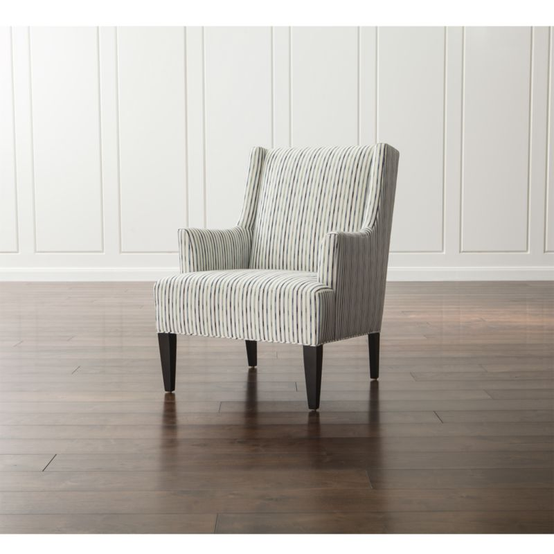 Patrice Striped Wingback Chair Reviews Crate And Barrel