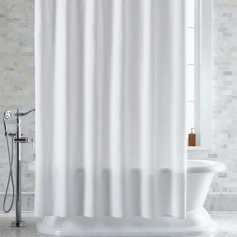 Pebble Matelass White Shower Curtain  Crate and Barrel