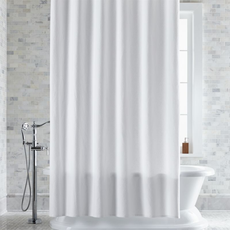 Pebble Matelass White ExtraLong Shower Curtain  Reviews  Crate and Barrel