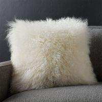 White Mongolian Lamb Pillow | Crate and Barrel