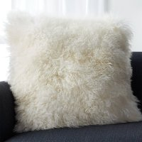 "Pelliccia Ivory 23"" Mongolian Lamb Fur Pillow with Down ..."