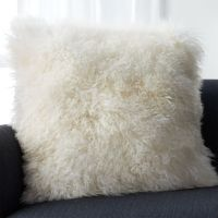 White Mongolian Fur Pillow | Crate and Barrel