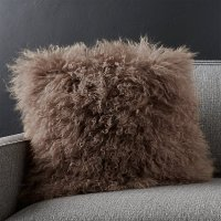 Sheepskin Brown Pillow | Crate and Barrel
