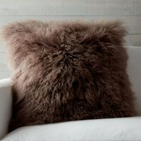 Mongolian Brown Fur Pillow | Crate and Barrel