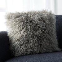 Grey Mongolian Lamb Pillow   Crate and Barrel