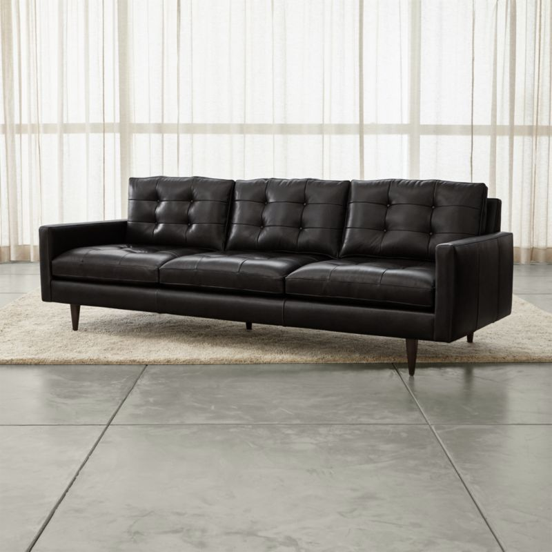 tufted leather sofa cheap sunroom sectional sofas petrie 100 reviews crate and barrel