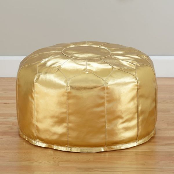Faux Leather Gold Pouf + Reviews | Crate and Barrel