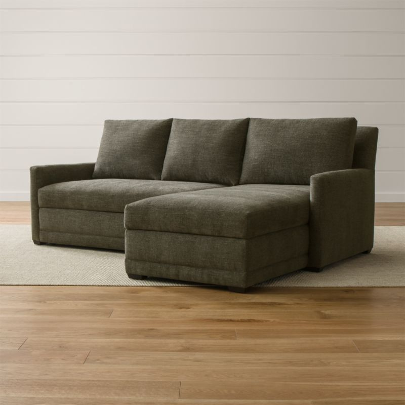 loveseat size sleeper sofa leather chaise bed with storage reston trundle sectional + reviews | crate and barrel