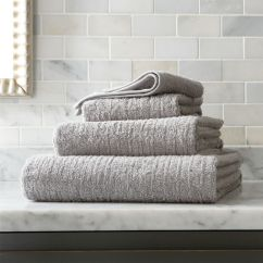 Grey And White Accent Chair Tufted A Half Ribbed Bath Towels | Crate Barrel