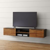 "Rigby Natural 80.5"" Large Floating Media Console + Reviews"