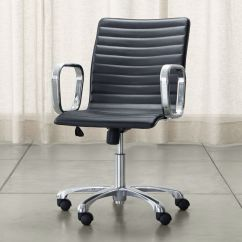 Black Leather Desk Chairs Small Chair Ripple Office With Chrome Base Reviews Crate And Barrel