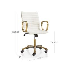 Ivory Leather Office Chair Black Accent Chairs Ripple With Brass Frame Crate And Barrel Tap To Zoom Image Dimension For