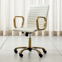 Unique Leather Office Chairs Ski Lift Chair For Sale Home Swivel Casters More Crate And Barrel Ripple Ivory With Brass Frame