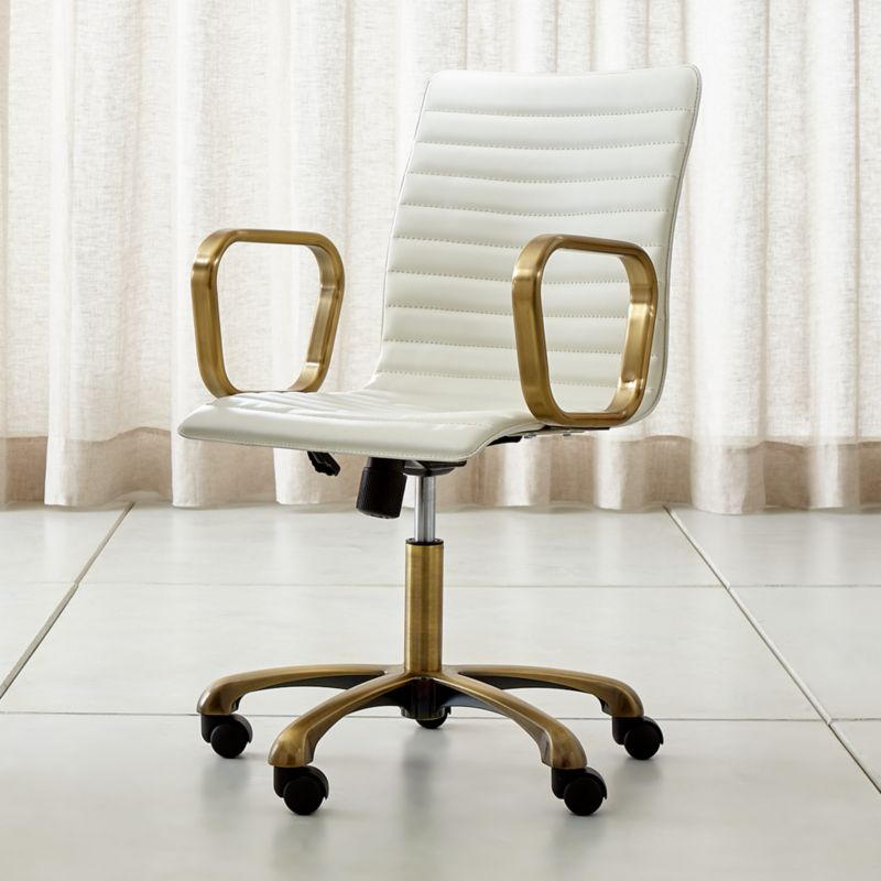 office chair leather with coccyx cut out home chairs swivel casters more crate and barrel ripple ivory brass frame