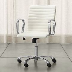 Kids Office Chairs Chair Covers Essex Hire Rolling Desk Crate And Barrel Ripple Ivory Leather With Chrome Base