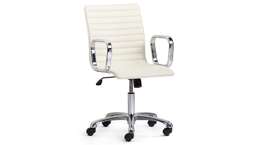 ivory leather office chair folding measurements ripple with chrome base reviews crate and barrel